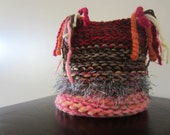 Infant Knit Ponytail Hat in Red, Browns and Salmon