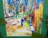 Traveling Girl, Cherry Blossom Art,Japanese Park Sewn Watercolor Print, Green Mat, Kathleen Leasure, FromGlenToGlen