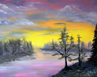Louisiana Bayou, Surreal Art, Mystic  River Oil, Sunset, OOAK, Alder Frame, 26 x 24 in.,Kathleen Leasure, FromGlenToGlen