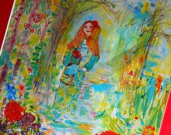 Garden Lady Print,Woodland Art, Womens Art, Watercolor Print of Original, Forest, Woodland Art, Kathleen Leasure, FromGlenToGlen
