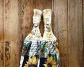 Crocheted Rustic Sunflower Kitchen Hanging Towel and Dishcloth Set - Four Pieces - Towels 'N Things