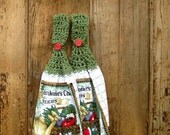 Crocheted Green Garden Theme Kitchen Hanging Towel and Dishcloth Set - 4 Pieces - Towels 'N Things