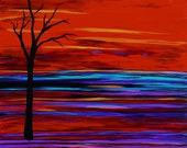 TREE on the RED HORIZEN Large Abstract Tree Art Original Landscape Painting by suzeee