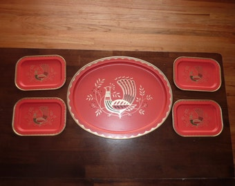 Red Peacock Serving Trays - Mid Century Five Piece Set