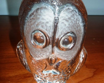 Viking Glass Owl Paperweight / Bookend with Original Tag