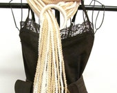 Crochet Scarf - Cream and Beige