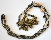 Love Birds Necklace - Antique Brass with Glass Pearls