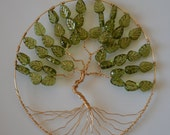 Medium Sized Wire Tree of Life Wall Hanging with Green Leaf Beads