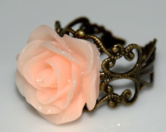 Pink Princess Rose Antiqued Ring
