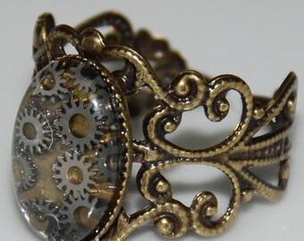 Steampunk Gear Cabochon Ring with Antique Brass Band