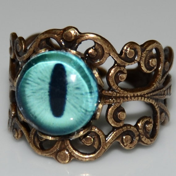 Blue Dragon's Eye Ring - Antique Brass Adjustable Ring