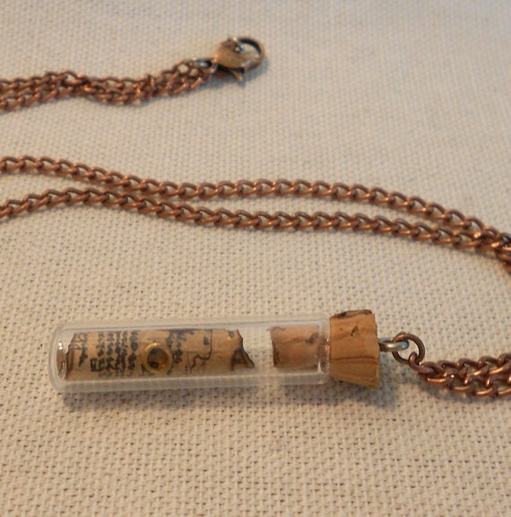 Thorin's Map, the Hobbit, Bottle Necklace with tiny ring