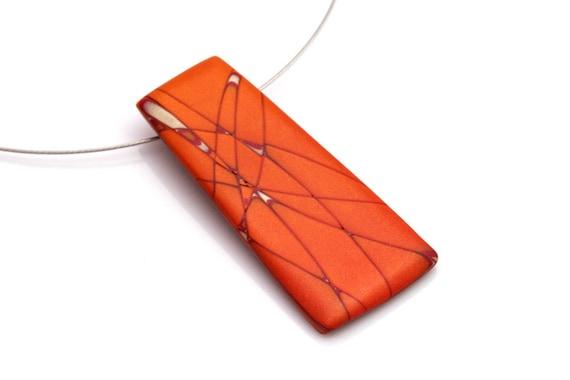 Artistic Pendant Necklace - OOAK Polymer Clay Necklace - Tangerine, Orange, Crimson, Pearl  - Tangerine Beach