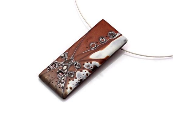 Original Art Pendant Necklace, OOAK Brown Polymer Clay Pendant