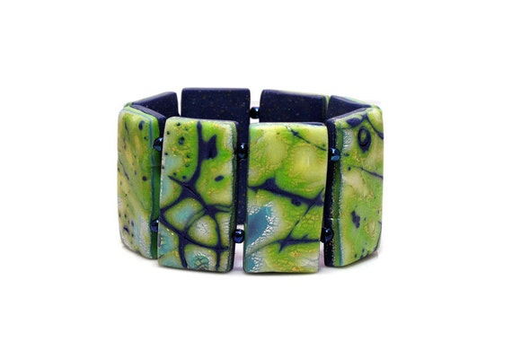 Blue And Green Translucent Mokume Gane Polymer Clay Bracelet