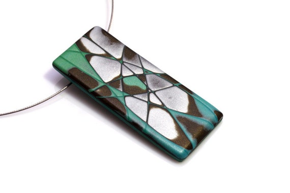 OOAK Pendant  Necklace, Polymer Clay In Aqua, Silver And Brown