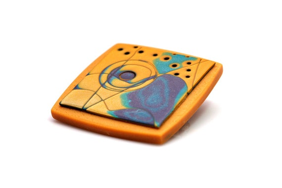 Modern Polymer Clay Brooch In Orange, OOAK Abstract Jewelry