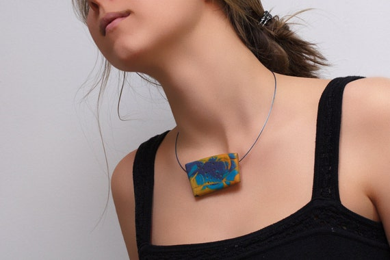 OOAK Polymer Clay Pendant Necklace In Orange And Purple, Abstract Jewelry