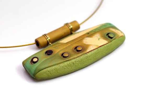 Green Pendant Necklace - Polymer Clay Mokume Gane One Of A Kind Pendant