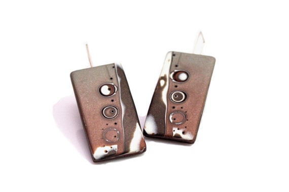 Minimalist Brown Earrings, Contemporary Art Jewelry