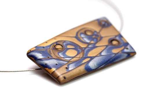 Contemporary Pendant Necklace, Golden And Blue Polymer Clay