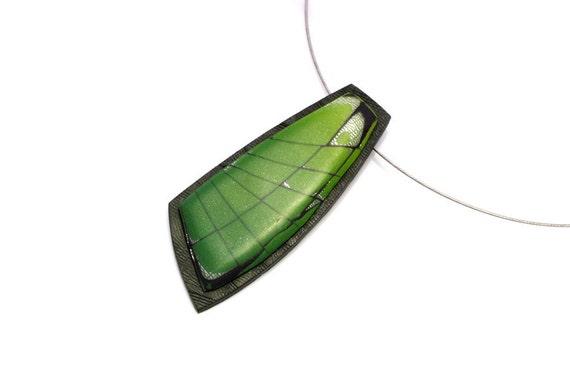 Green Pendant Necklace - Unique Polymer Clay  Mokume Gane Pendant - Spirit Of A Dragon