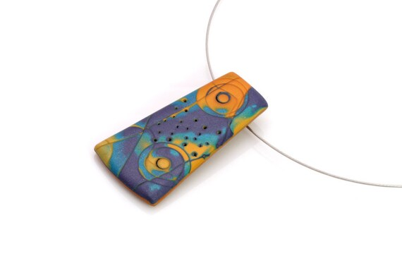 Modern Pendant Necklace, Purple And Orange Polymer Clay, Wearable Art