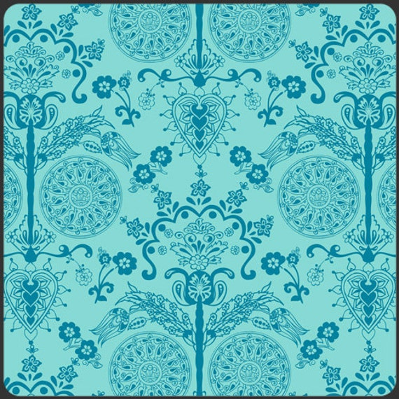 ALMOST GONE Art Gallery Fabrics - Pat Bravo BAZAAR Style Collection - Imperial Turquoise - 3/4 Yard Cotton Fabric Remnant