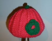 Girls Knit Hat Handknit with Crochet Flower 12-18 Months old - Vesper Handknit Hat READY TO SHIP
