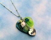 Blue & Green SMALL Acrylic Heart Necklace with charms and dangles (style 337)
