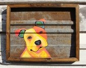 JAW DROPPER dog acrylic painting on recycled barn tin