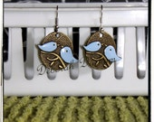 Vintage Style Blue Birds Coin Earring