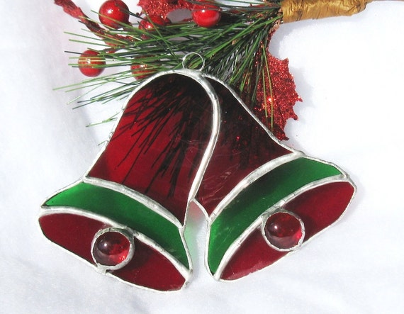Stained Glass Christmas Bells Ornament by LakeSideStainedGlass