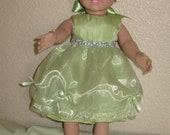 Mint Green Party Dress with Lavender Flower Trim and Matching Shoes for 18 inch Dolls