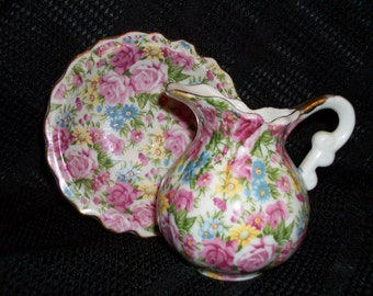Free Shipping~Royal Chintz Pitcher and Saucer