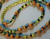 SALE was 30.00 now just 25.00 - Beaded Lanyard - Lively Green - African Beads - Glass Beads- Accessories - Jewelry - FREE shipping