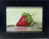 Daily Painting. Red Strawberry. Original Oil painting on linen. Framed.  Signed. w/o frame 5x7 inches
