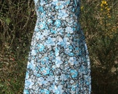 vintage sundress with sweetheart neckline - blue roses