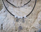 CLEARANCE! Black Leather Necklace with White Tile Beads and Sterling silver dangles - Black White