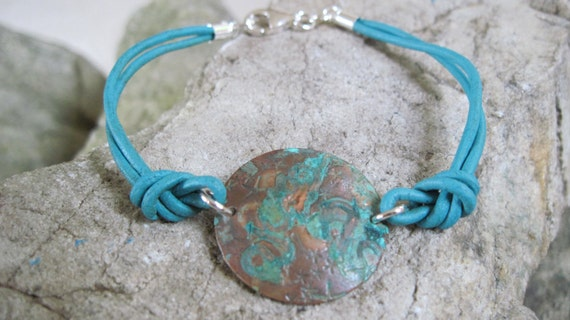 Artisan Patina Copper Disc Bracelet - Knotted Turquoise Leather Cord - Sterling Silver Lobster Clasp - Summer Bracelet