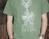 XL Handmade Tree T Shirt, Root of All Evil, Green, Mens, t-shirt, Eco-Friendly, Up-cycled, Recycled, Original Artwork