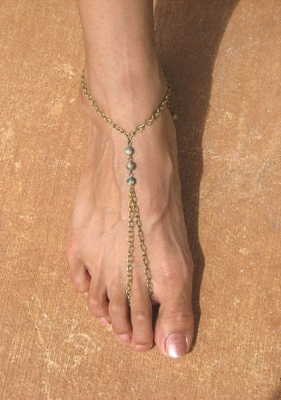 Jasper Terra Aqua:  Fashionable Arabian and East Indian Inspired Ring Anklet