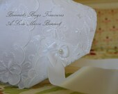 Heirloom Baby Bonnet This beautiful white cotton bonnet is made from a handkerchief with delicate embroidered Butterflies.