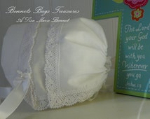 Magic Hanky Bonnet This beautiful WHITE cotton bonnet is made from a handkerchief trimmed with delicate SeaSide crocheted lace