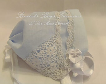 Heirloom Magic Baby - Bonnet Pale BLUE hanky - white satin ribbons crocheted lace around all edges one full corner crochet