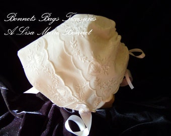 Heirloom Baby Bonnet Embroidered with HEARTS great gift for baby showers Christening and Dedications - Magic Hanky White bonnet