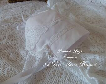 Heirloom Magic Baby Hanky Bonnet Pale PINK - white satin ribbons delicate crochet lace around all edges one full corner crochet Christening