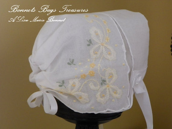 Heirloom Baby Bonnet The perfect gift for baby showers Christening and Dedications Embroidered YELLOW Ribbons and flowers