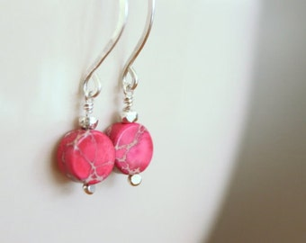 Pink Jasper Drop Earrings - Jasper Rose and Sterling Silver, Color Pop, Disc Drop Earrings, Modern, Preppy Dangle, Gift for Her Under 25