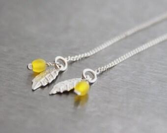 Silver Leaf Thread Earrings - Sterling Silver Earrings, Woodland, Leaf Dangle, Long Drop Earrings, Bright Yellow Glass, Under 25